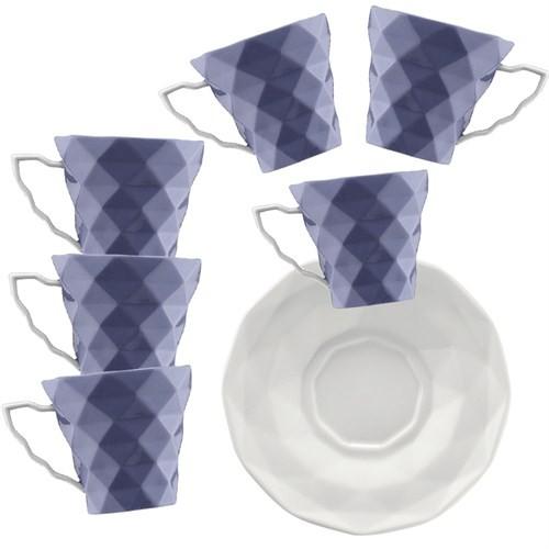 Kütahya Porselen 12 Parça 6 Kişilik Kahve Takımı Mor