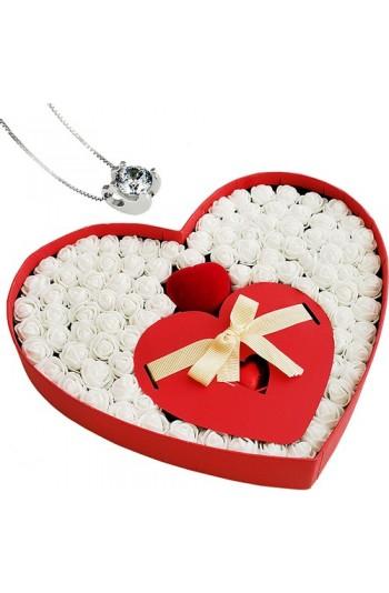 Chavin Takı Setli Kalp Kutulu Çikolatalı Beyaz Mini Güller
