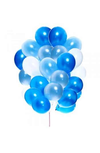 Metalik Sedefli (Mavi - Beyaz Karışık) Uçan Balon 50 Adet