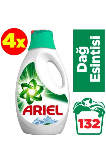Ariel Sıvı Çamaşır Deterjanı Dağ Esintisi 33 Yıkama Beyazlar ve Renkliler İçin 4'lü Paket