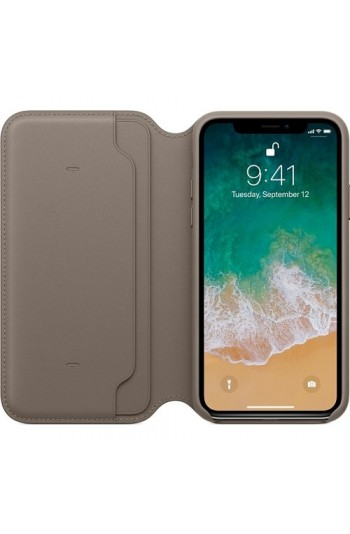 Apple iPhone X Deri Folio Vizon Grisi MQRY2ZM/A (Apple Türkiye Garantili)