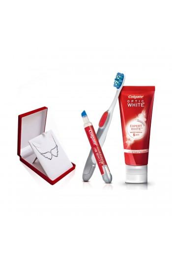Colgate Beyazlatıcı Kalem+Optik Beyaz Expert White Diş Macunu 75 ml + Gümüş Kolye
