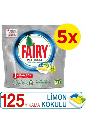 Fairy Platinum Bulaşık Makinesi Deterjanı Kapsülü Limon Kokulu 125 Yıkama