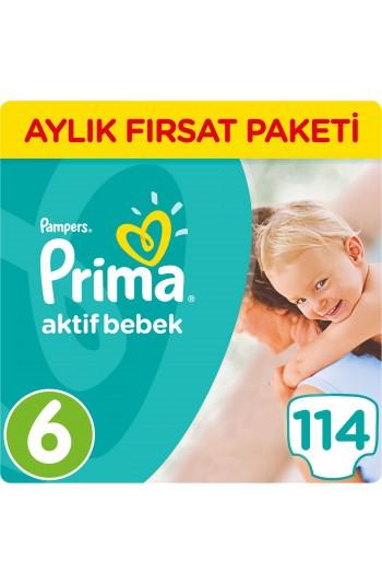 Prima Bebek Bezi Aktif Bebek 6 Beden Ekstra Large Aylık Fırsat Paketi Paket 114 Adet